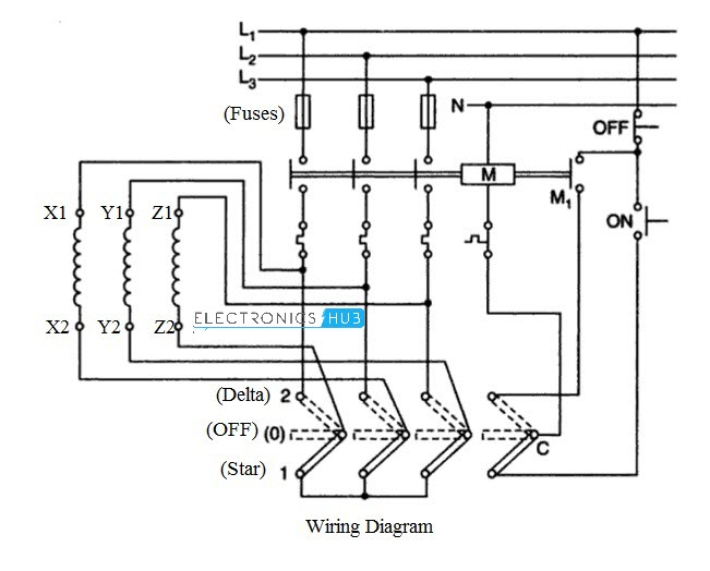 three phase motor star delta wiring diagram switched receptacle starter for 3 manual with push button