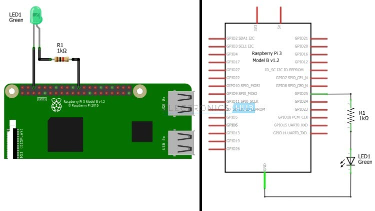 raspberry pi 3 model b wiring diagram daisy 1894 parts how to blink an led using and python with circuit 1