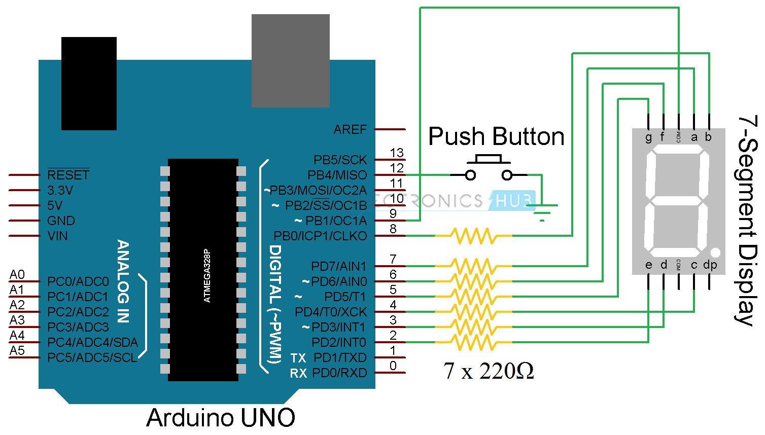 pin 7 arduino diagram of a flowering plant with label segment display interface circuit rolling dice