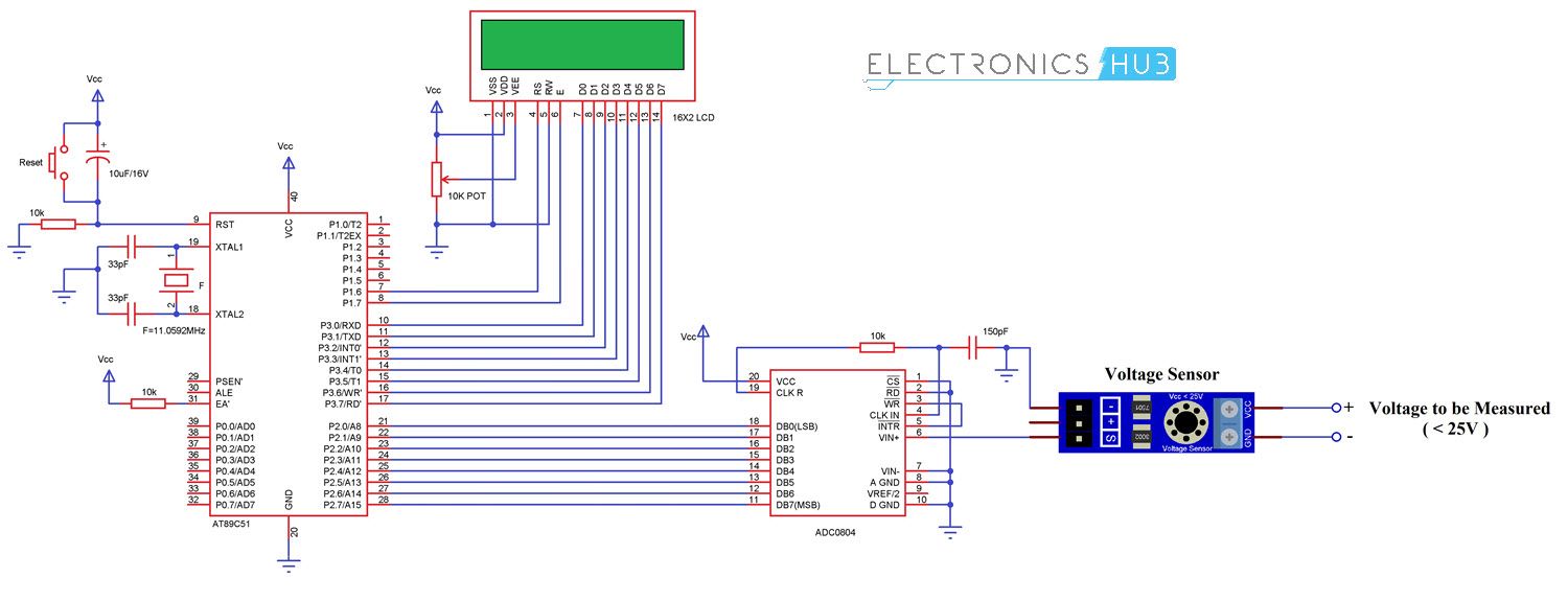 hight resolution of digital voltmeter using 8051 microcontroller and voltage sensor circuit diagram