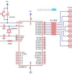 led interfacing with 8051 microcontroller circuit diagram wiring blinking led using 8051 electronic circuits and diagram [ 1020 x 812 Pixel ]