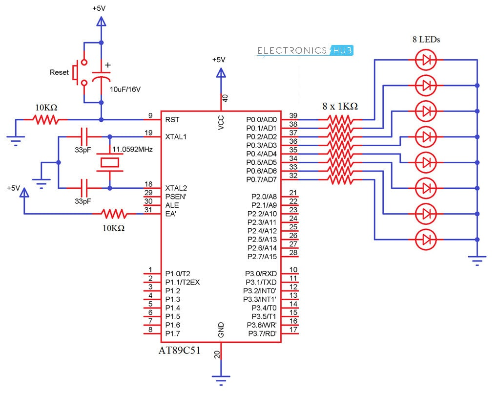 hight resolution of interfacing led with 8051 microcontroller circuit diagram