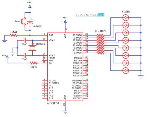 small resolution of led interfacing with 8051 microcontroller circuit diagram wiring blinking led using 8051 electronic circuits and diagram