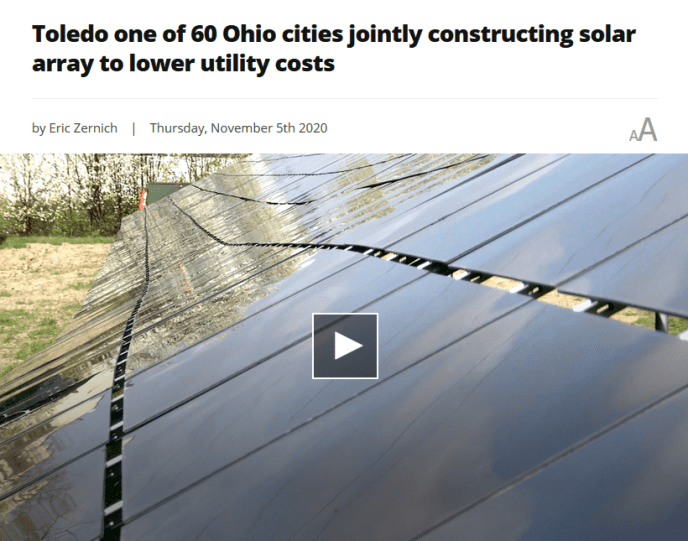 Toledo one of 60 Ohio cities jointly constructing solar array to lower utility costs (image)