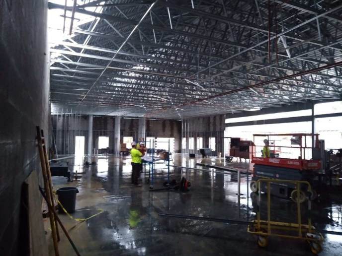 Photo of the New Lebanon, Ohio fire station #41 in the process of construction (image)