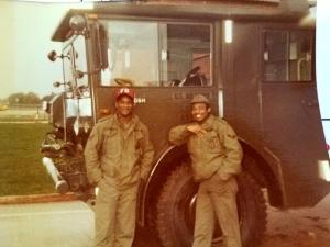 Pic from John Larkin's years as a fire fighter and fire inspector at RAF Greenway Common from 84-91: John Larkin with Nemiah Barnett.