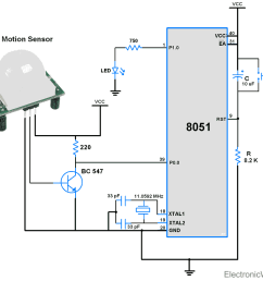 circuit diagram pir motion sensor interface with 8051 [ 1000 x 874 Pixel ]