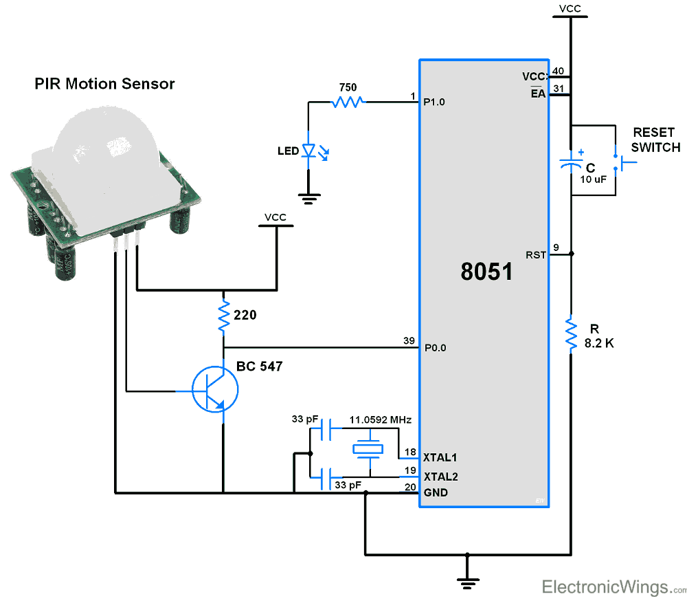 medium resolution of circuit diagram pir motion sensor interface with 8051