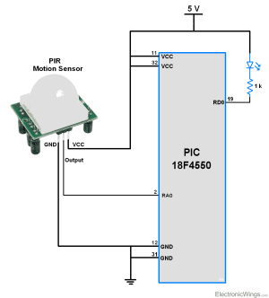 PIR Motion Sensor Interface with PIC18F4550  ElectronicWings