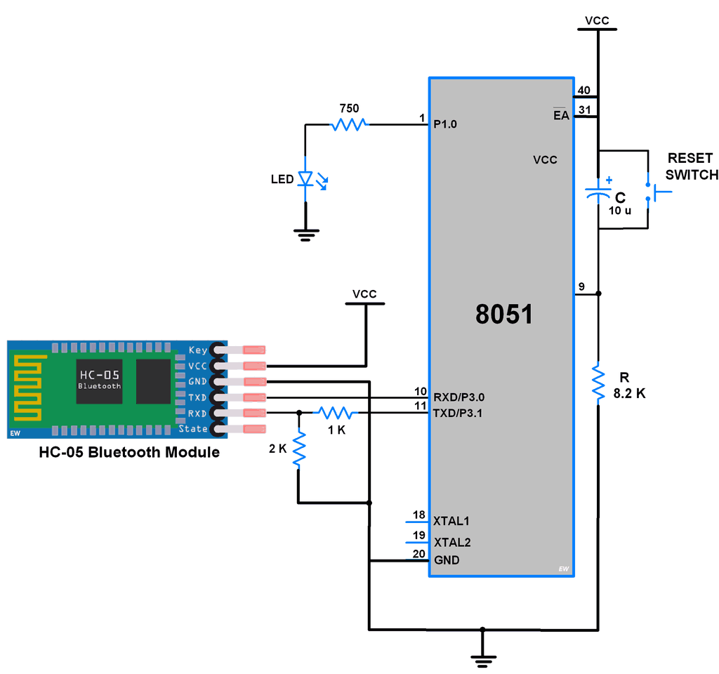 hight resolution of interfacing bluetooth with 8051
