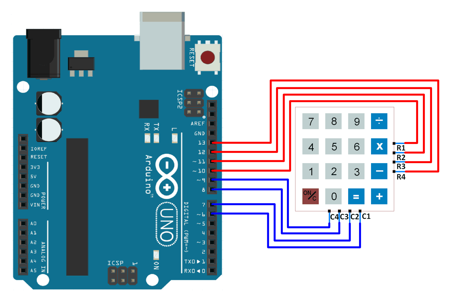 hight resolution of interfacing 4x4 keypad with arduino