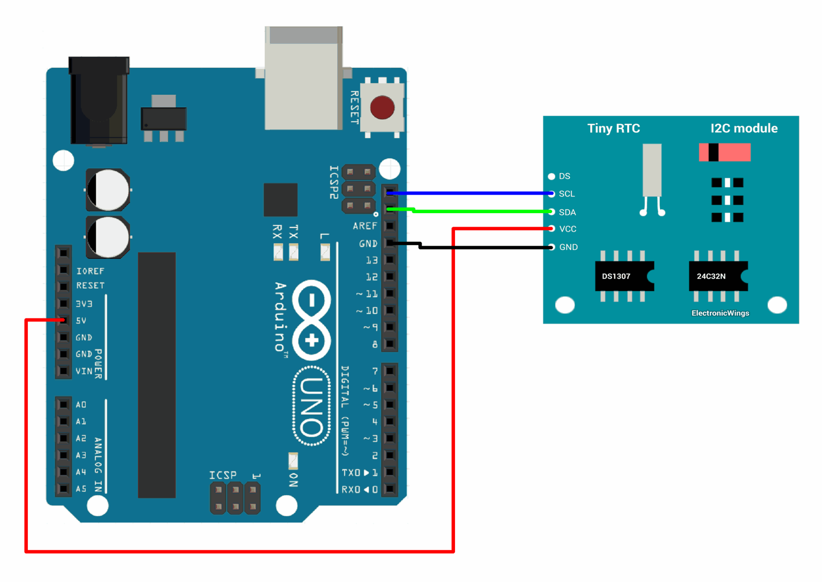 hight resolution of interfacing ds1307 rtc module with arduino uno