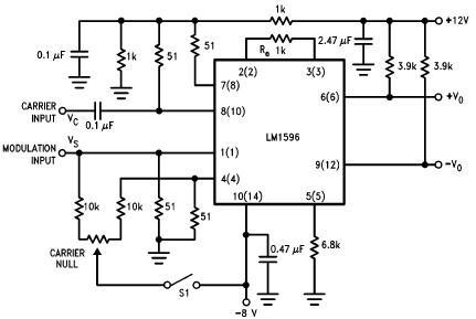 LM1596 balanced modulator