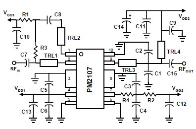2.4 , 2.5GHz RF power amplifier using PM2107 IC