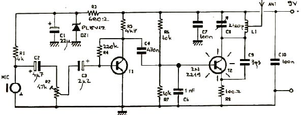 fm wireless microphone circuit diagram 7 round trailer plug 250mw transmitter electronic project