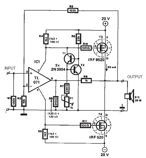 20 + 20 watts MOSFET audio amplifier