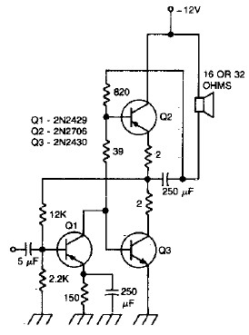 Wiring Schematic diagram: 470 mWatts audio amplifier for