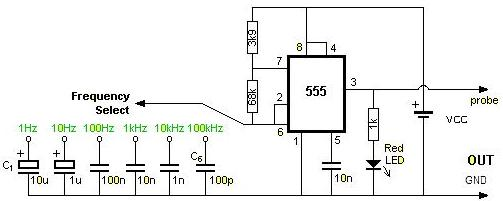 Circuit diagram Square wave generator using 555 timer