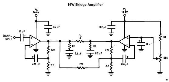 LM383 bridged 16 watts audio amplifier