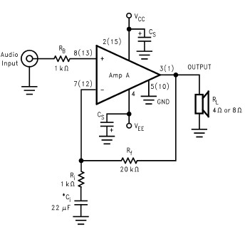2 x 30 watt amplifier using LM4765