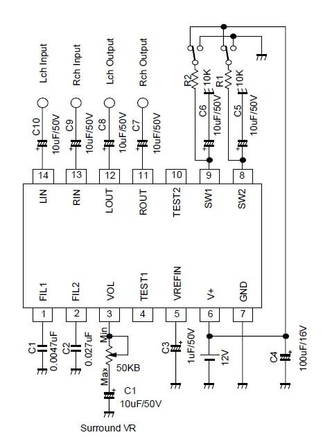 NJM2701 3D surround audio circuit