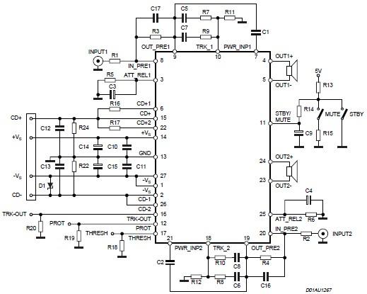 STA550 70+70 watts audio amplifier