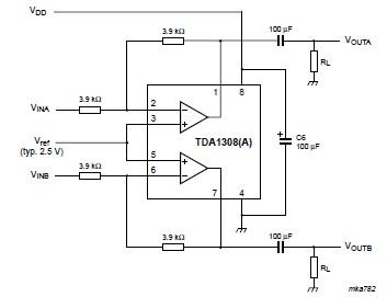 TDA1308 audio headphone amplifier