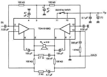 TDA1515 audio power amplifier circuit