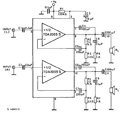 TDA2005 audio amplifier circuit