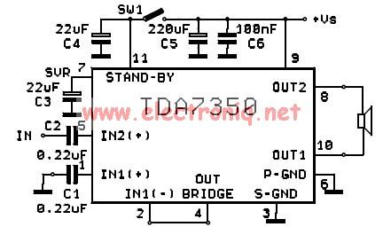 TDA7350 audio power amplifier circuit