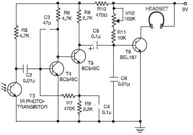 Wireless IR Headphones circuit diagram electronic project