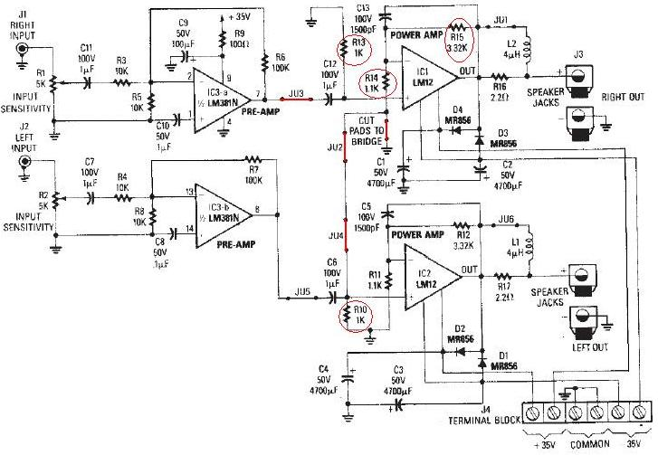 LM12 High power audio amplifier circuit ( 60-100W )