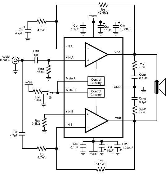 LM4780 audio amplifier circuit