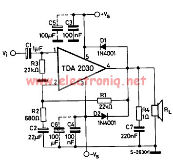 TDA2030 audio amplifier circuit diagram