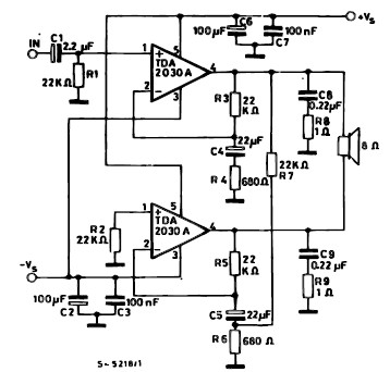 35 watt power amplifier using TDA2030 bridge