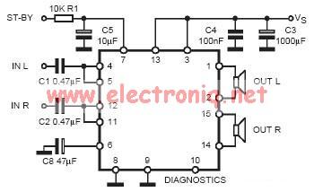 TDA7377 (2x30 W) audio amplifier