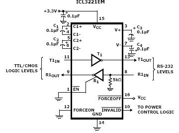 ICL3221EM RS-232 transmitter-receiver