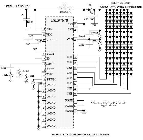 isl97678 8 channel led driver circuit diagram