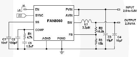 2.5V 1A dc converter circuit using FAN8060