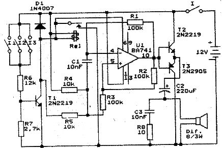 Alarm project electronic circuit using 741 op amp