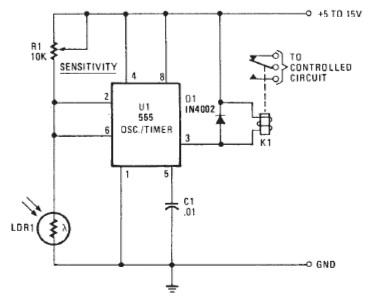 555 timer Photo alarm circuit