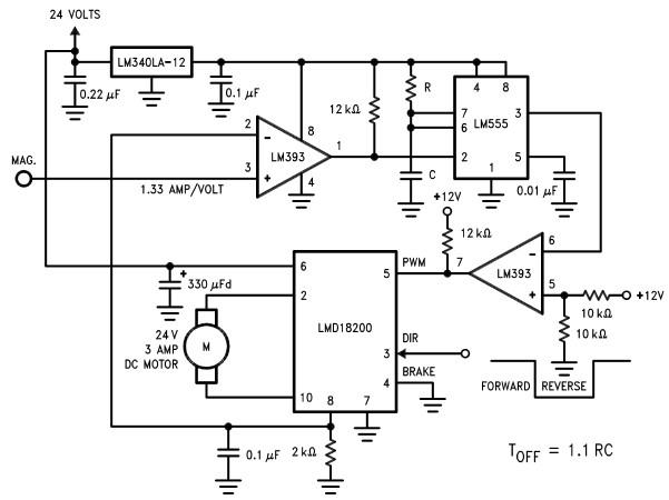 Motor controller circuit diagram using LMD18200 motion