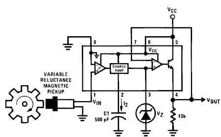 Tachometer circuit using LM2907 LM2917 frequency to