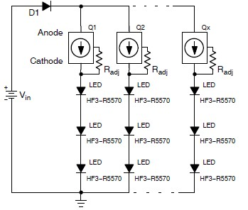 LED light circuit using NSI45090JDT4G