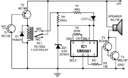Heat detector alarm circuit using UM3561