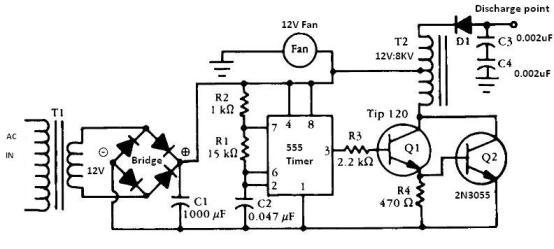555 timer Negative ion generator circuit
