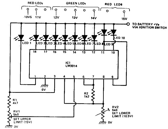 ic lm3914 battery monitor circuit diagram electronic circuit