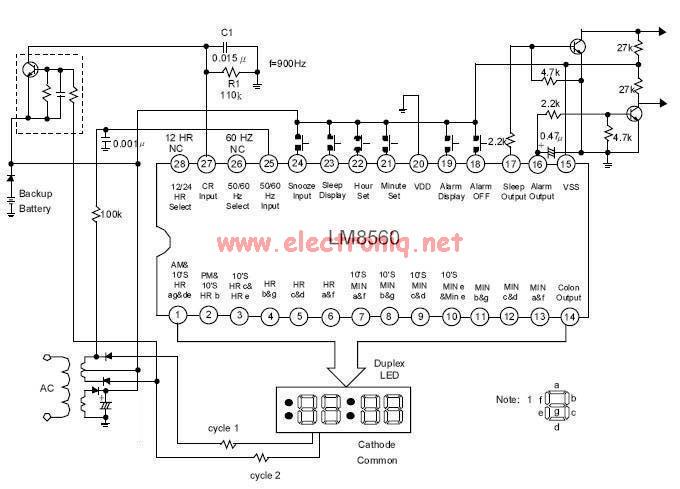 lm8560 digital clock alarm circuit positive supply