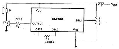 UM3561 electronic siren circuit diagram