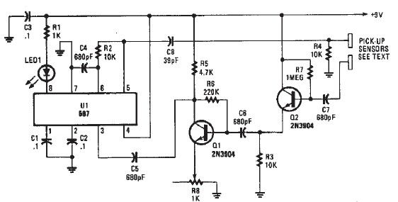 Proximity detector electronic circuit diagram